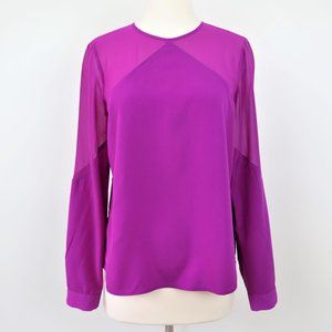 1.STATE Purple Career Blouse with Sheer Sleeves